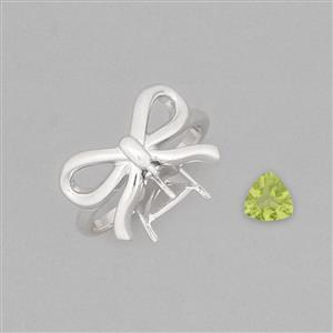 Size 7 925 Sterling Silver Ring Mount Fits 7mm Triangle Inc. 1cts Peridot 7mm Triangle