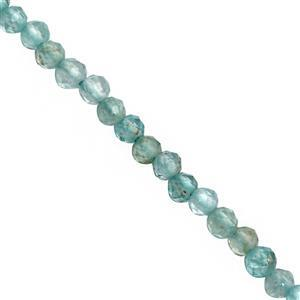 8cts Sky Blue Apatite Micro Faceted Round Approx 2mm, 31cm Strand