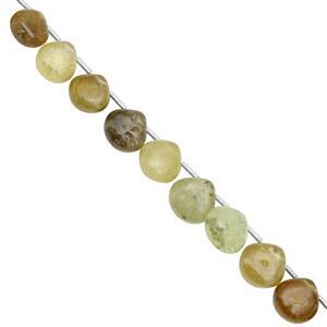 75cts Grossular Garnet Top Side Drill Smooth Heart Approx 7 to 9mm, 21cm Strand with Spacers