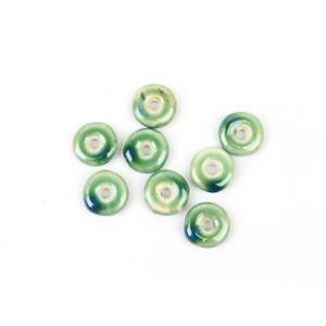 Multi Blue Ceramic Donut Beads, 20x6mm (8pk)