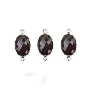 925 Sterling Silver Bezel Connectors Approx 21x11mm Inc. 26.5cts Ruby Faceted Oval Approx 14x10mm (HEDL57)