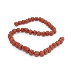 Min 160cts Red Lava Rock Beads Round 10-11mm 15-16""