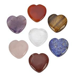 300cts Chakra Hearts in Hessian Bag Approx28 to 32mm (Red Jasper, Rose Quartz, Tigers Eye, Clear Quartz, Lapis Lazuli, Amethyst, Red Onyx) - Pack of 7