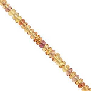 7cts Padparadscha Sapphire Smooth Rondelle Approx 2x1 to 2.5x1mm, 9cm Strand