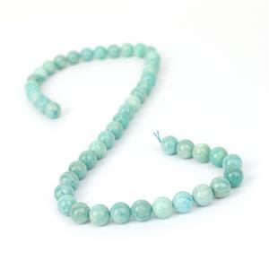 167ct Russian Amazonite Plain Rounds Approx 8mm, 38cm Strand