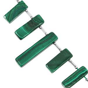 65cts Malachite Graduated Top Drill Plain Bar Approx 17x5.5 to 24x6mm, 6cm Strand with Spacers