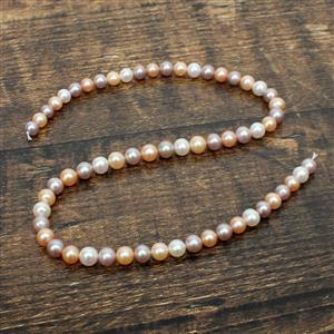 High Lustre Multi-Coloured Freshwater Cultured Pearl Near Round Approx 6.5-7.5mm, 38cm Strand