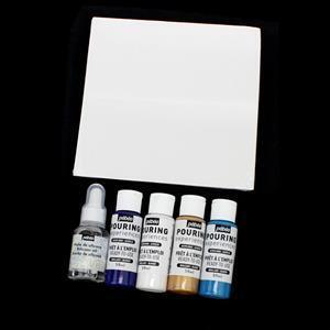 Pebeo Discovery Set Pouring Set Inc. Acrylic Fluid 4x59ml, Silicone Oil 50ml, & Canvas 20x20cm