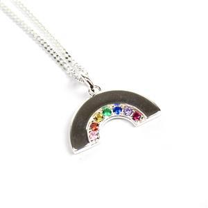 925 Sterling Silver Rainbow Pendant With CZ Approx mm, 1 x 3mm Jump Ring & 18inch Curb Chain