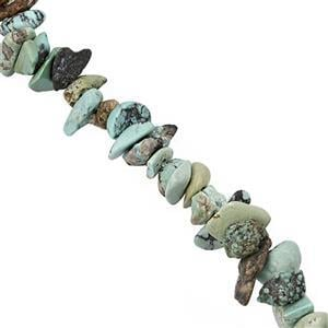100cts Turquoise Smooth Chips Approx 2.5x2 to 3.5x2.5mm, 81cm Strand