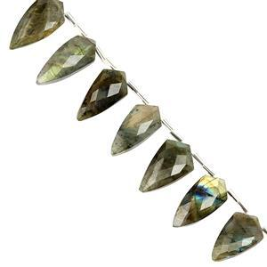 75ct Labradorite Faceted Arrowhead 10X21 to 9X22mm, 12cm Beads Strand with spacers