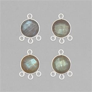 925 Sterling Silver Chandelier With Three Loops Approx 17x12mm Inc. 14cts Labradorite Faceted Round Approx 10mm (4pcs)