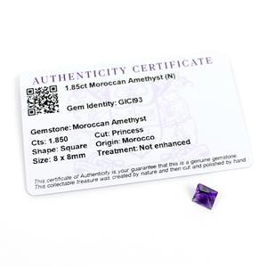 1.85cts Moroccan Amethyst Square Princess 8x8mm