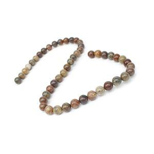 160cts Chinese Jasper Plain Rounds Approrx 8mm, 38cm Strand