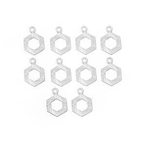 Silver Plated Base Metal Interlinking Hexagon Clasp Approx 15x21mm (10pcs/pk)