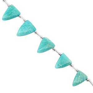 72cts Amazonite Smooth Fancy Approx 15x10 to 22x14.5mm, 17cm Strand with Spacers