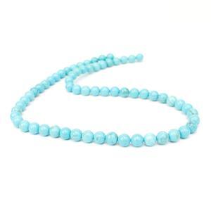 100cts Turquoise Plain Rounds Approx  6mm