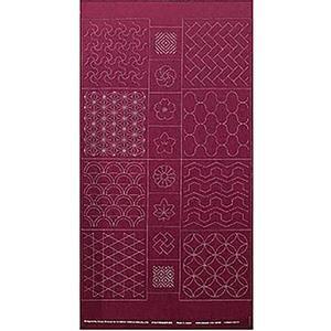 Sashiko Tsumugi Preprinted Geo 19 Deep Red Fabric Panel 108x61cm