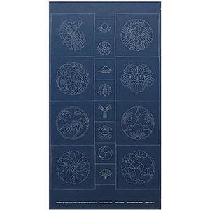Sashiko Tsumugi Preprinted Kamon 19 Indigo Blue Fabric Panel 108x61cm