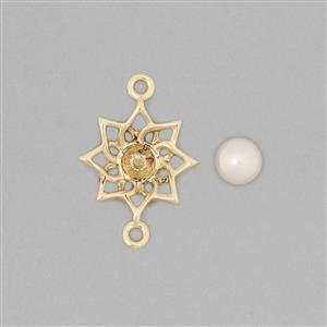 9k Gold Pearl Connector Mount Fits 5mm Round Inc. Freshwater Cultured Pearl Round Cabochon 5mm Round
