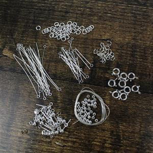 211pc Sterling Silver Finding Mega Pack