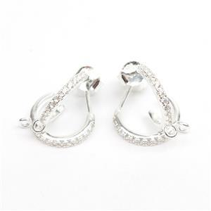 925 Sterling Silver Hoop Earrings With Cubic Zirconia Detail & Loop Approx 12mm (2Pairs)