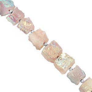 195cts Rose Coated Quartz Hammered Cube Approx 10.50 to 14mm, 16cm Strand with Spacers