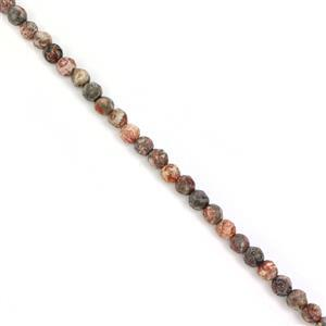 40cts Jasper Faceted Rounds Approx 4mm, 38cm Strand