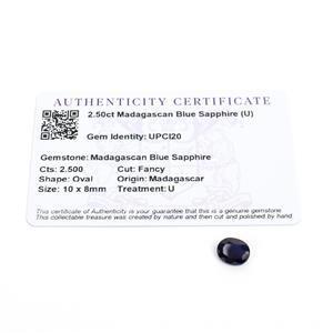 2.5cts Madagascan Blue Sapphire 10x8mm Fancy  (U)