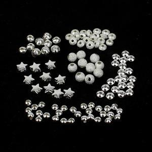 925 Sterling Silver Spacer Bead Bundle 6 Designs (Approx 3-4mm) - 100pcs