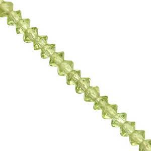 15cts Peridot Faceted Saucer Approx 3x1.5 to 3x2mm, 25cm Strand