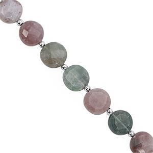 65cts Moss Agate Center Drill Faceted Coin Approx 9 to 12.50mm, 17cm Strand with Spacers