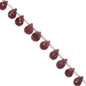 8cts Rubellite Side Drilled Faceted Drops Approx 4x3mm to 6x4mm 9cm Strand with Spacers