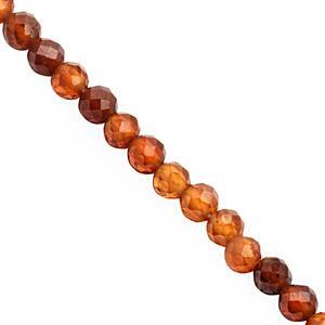 18cts Hessonite Garnet Faceted Round Approx 2.50 to 3mm, 24cm Strand