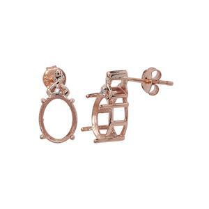 Rose Gold Plated 925 Sterling Silver Oval Earrings Mount (To fit 10x8mm gemstones) Inc. 0.02cts White Zircon Brilliant Cut Round 1.20mm - 1Pair