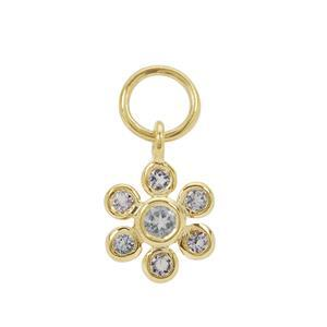 Gold Plated 925 Sterling Silver Flower Charm With 0.38cts Aquamarine Approx 2 to 3mm (1pcs)