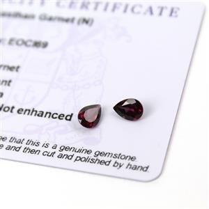1.1cts Rajasthan Garnet 7x5mm Pear Pack of 2 (N)