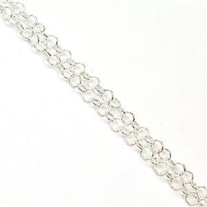 Silver Plated Base Metal Flat Round Link Chain, Approx. 4x4mm (1m)