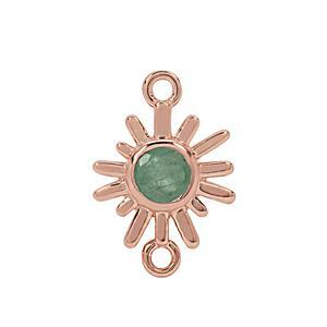 Rose Gold Plated 925 Sterling Silver Sunray Connector with 0.6cts Sakota Emerald Approx. 20x14mm (1pc)