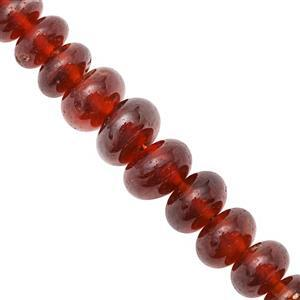 95cts Hessonite Garnet Smooth Rondelles Approx 2.5x5.5 to 5.5x9mm, 19cm Strand