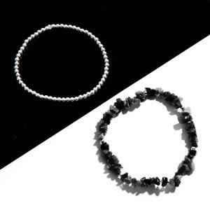 925 Sterling Silver Bead Approx 3mm & Black Spinel Rough Nuggets Strand Approx 9inch with Elastics (Pack of 95pcs)