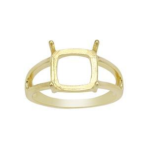 Gold Plated 925 Sterling Silver Cushion Ring Mount (To fit 10mm gemstone) - 1Pcs