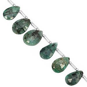 45cts Emerald Top Side Drill Graduated Faceted Pear Approx 8.5x6.5 to 13.5x9.5mm, 17cm Strand with Spacers