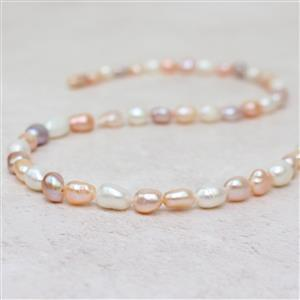 Multi Colour Freshwater Cultured Pearl Long Nuggets Approx 6x8 to 7x9mm, 38cm strand