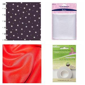 Red Celebration Clutch Bundle: Fabric (2m), Basting Tape & Interfacing