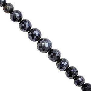 135cts Diamond Colour Coated Black Spinel Graduated Faceted Round Approx 5.5 to 9.5mm, 22cm Strand