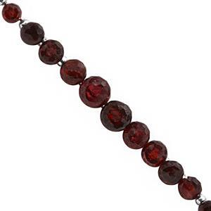 35cts Mozambique Garnet Graduated Faceted Onion Approx 3x4 to 5x7mm, 16cm Strand with Spacers