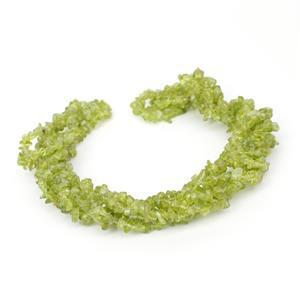 "580cts Peridot Chips Approx 4x7 to 5x8mm, 100"" Endless Chips Strand"