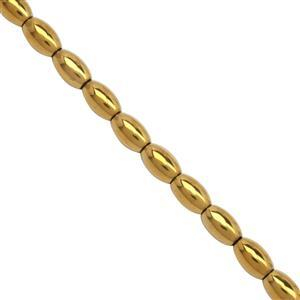 145cts Golden Coated Haematite Smooth Rice Beads Approx 5 to 8mm, 40cm Strand