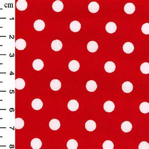Red Polka Dots on Cotton Poplin Fabric 0.5m